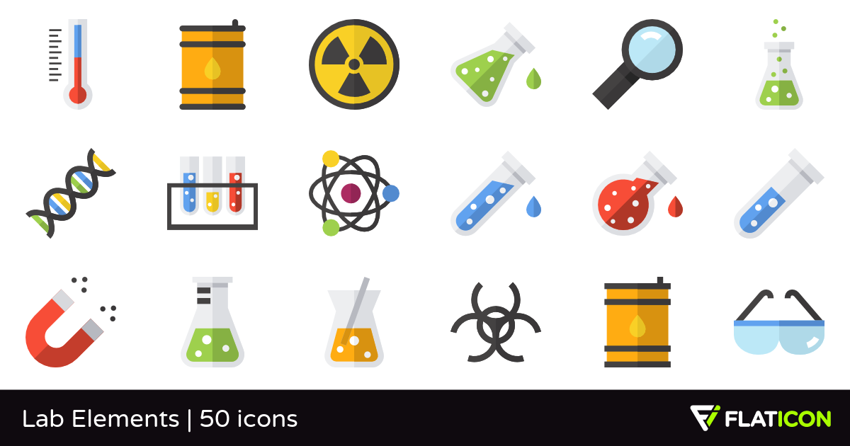 Lab Elements 50 free icons (SVG, EPS, PSD, PNG files).