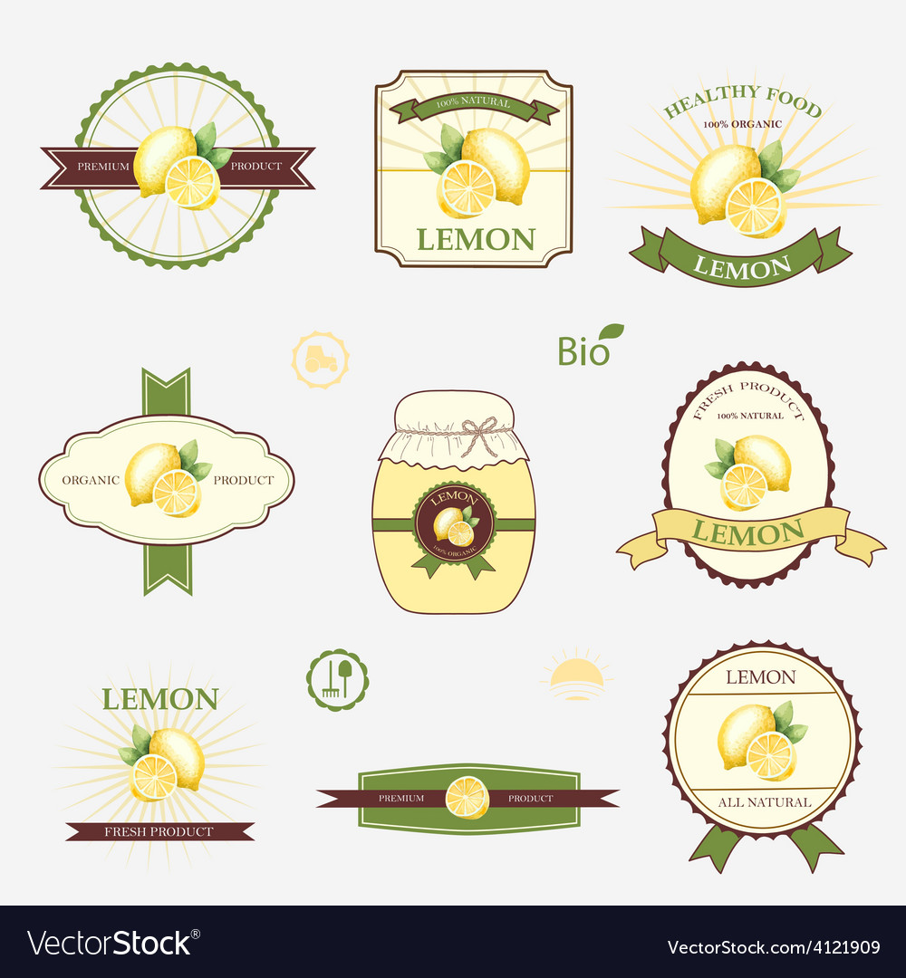 Lemon set of label design and templates.