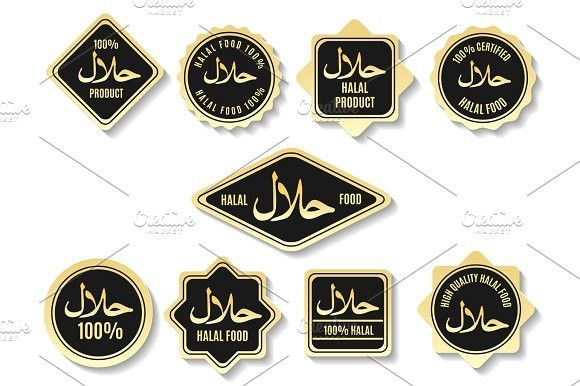 Islamic halal meal gold certified signs. Islamic Icons.