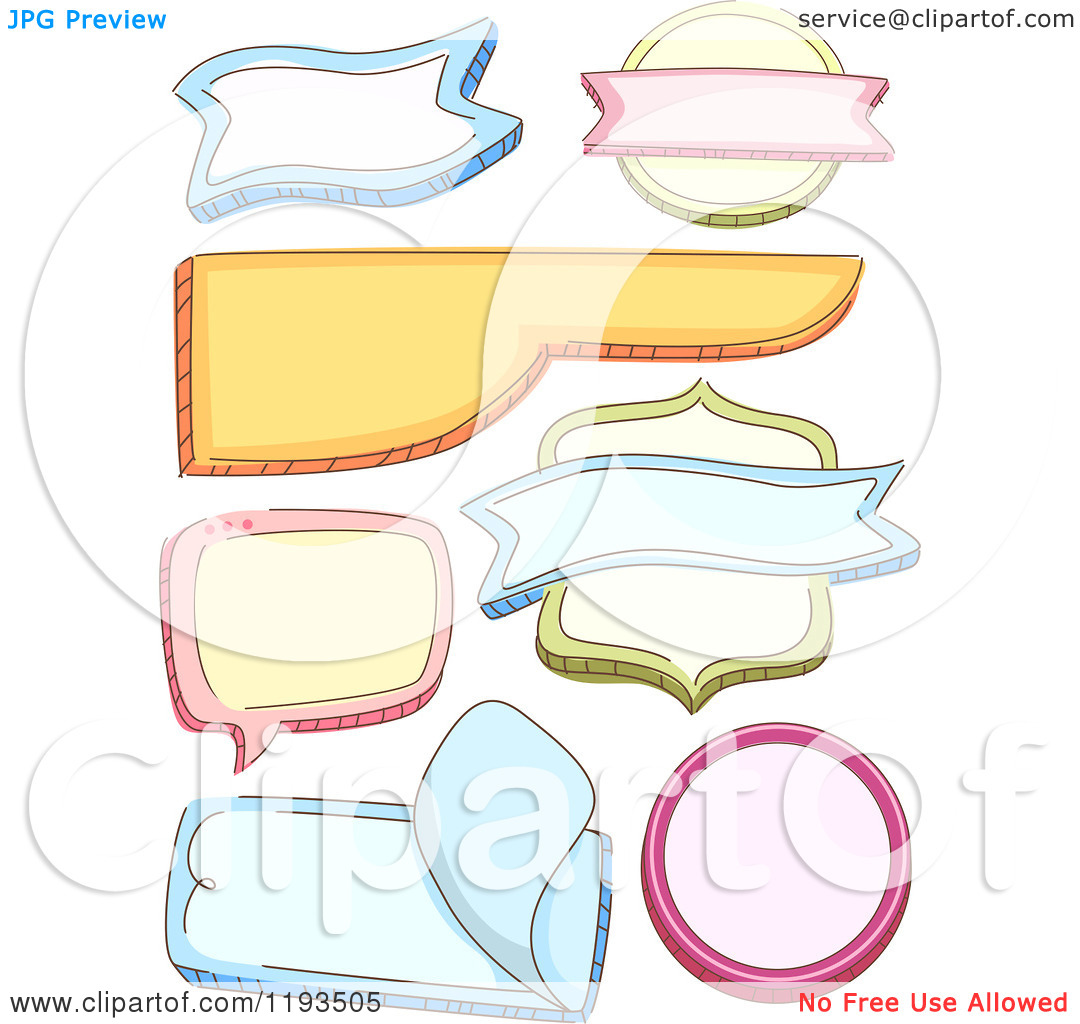 Cartoon of Colorful Shaped Labels.