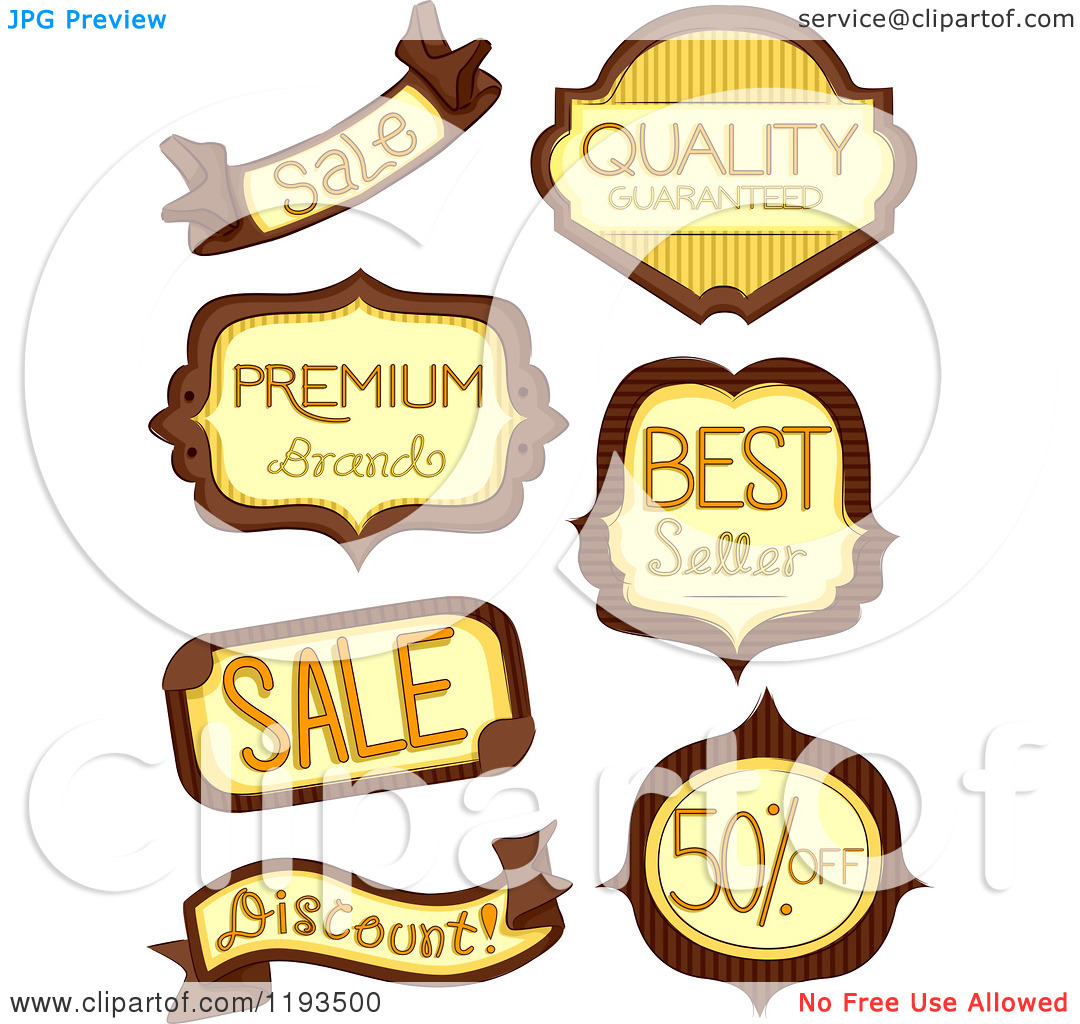 Cartoon of Brown and Yellow Retail Store Product Labels.