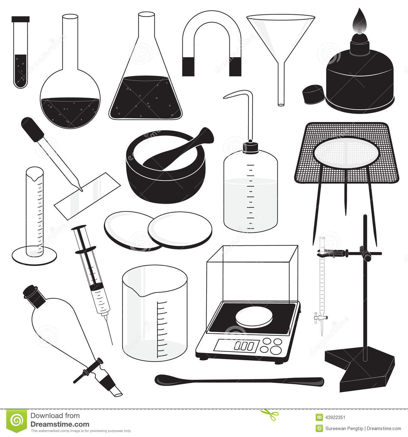 Laboratory apparatus clipart black and white 6 » Clipart Station.