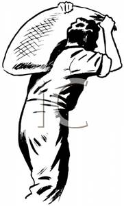 Retro Cartoon of a Male Laborer Carrying a Sack of Grain.