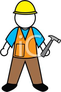 Colorful Cartoon of a Handyman Holding a Hammer.