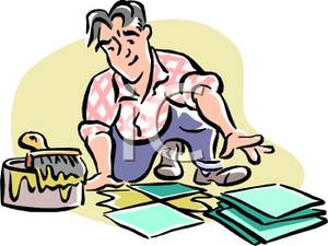 Colorful Cartoon of a Laborer Laying Ceramic Tiles.