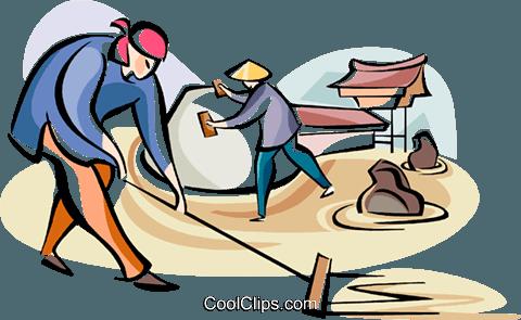 Japanese laborers Royalty Free Vector Clip Art illustration.