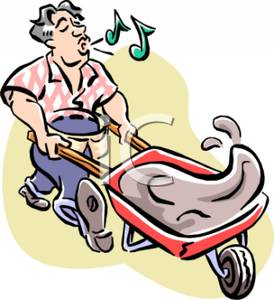 Laborer Whistling As He Is Pushing a Wheelbarrow of Wet Cement.