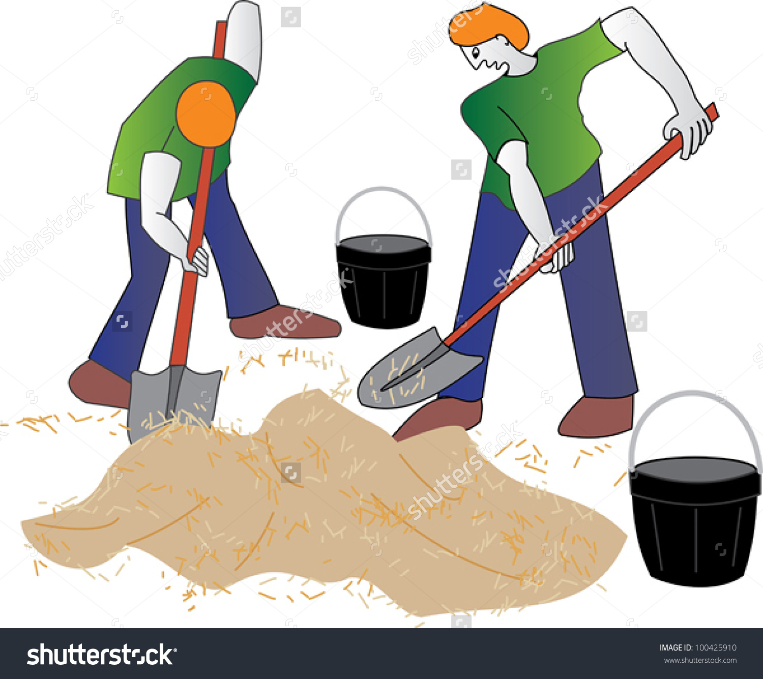 Young Laborers Mixing Cement On Construction Stock Vector.