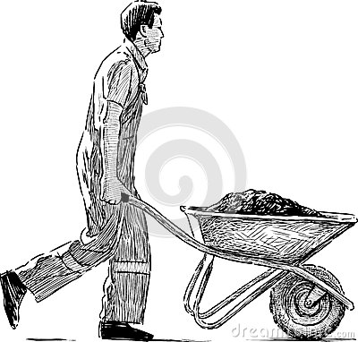 Construction Worker Pushing Wheelbarrow Stock Illustrations.
