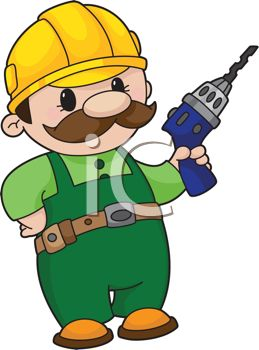 Royalty Free Clip Art Image: Cartoon Handyman with a Power Drill.