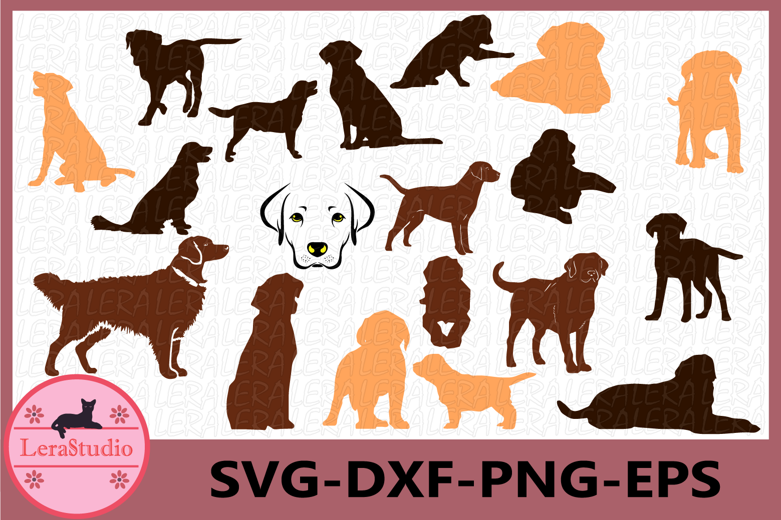 Labrador Retriever Silhouettes, Dog Svg, Dog Clipart.