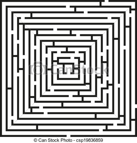 Clipart Vector of Square labyrinth puzzle.