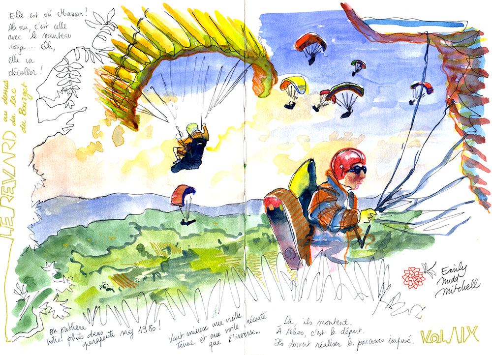 Paragliding event in the Alps · Emily Nudd.