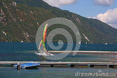 Sailing On Lac Du Bourget Editorial Photography.