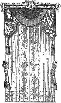Vintage Lace Curtains Clip Art.