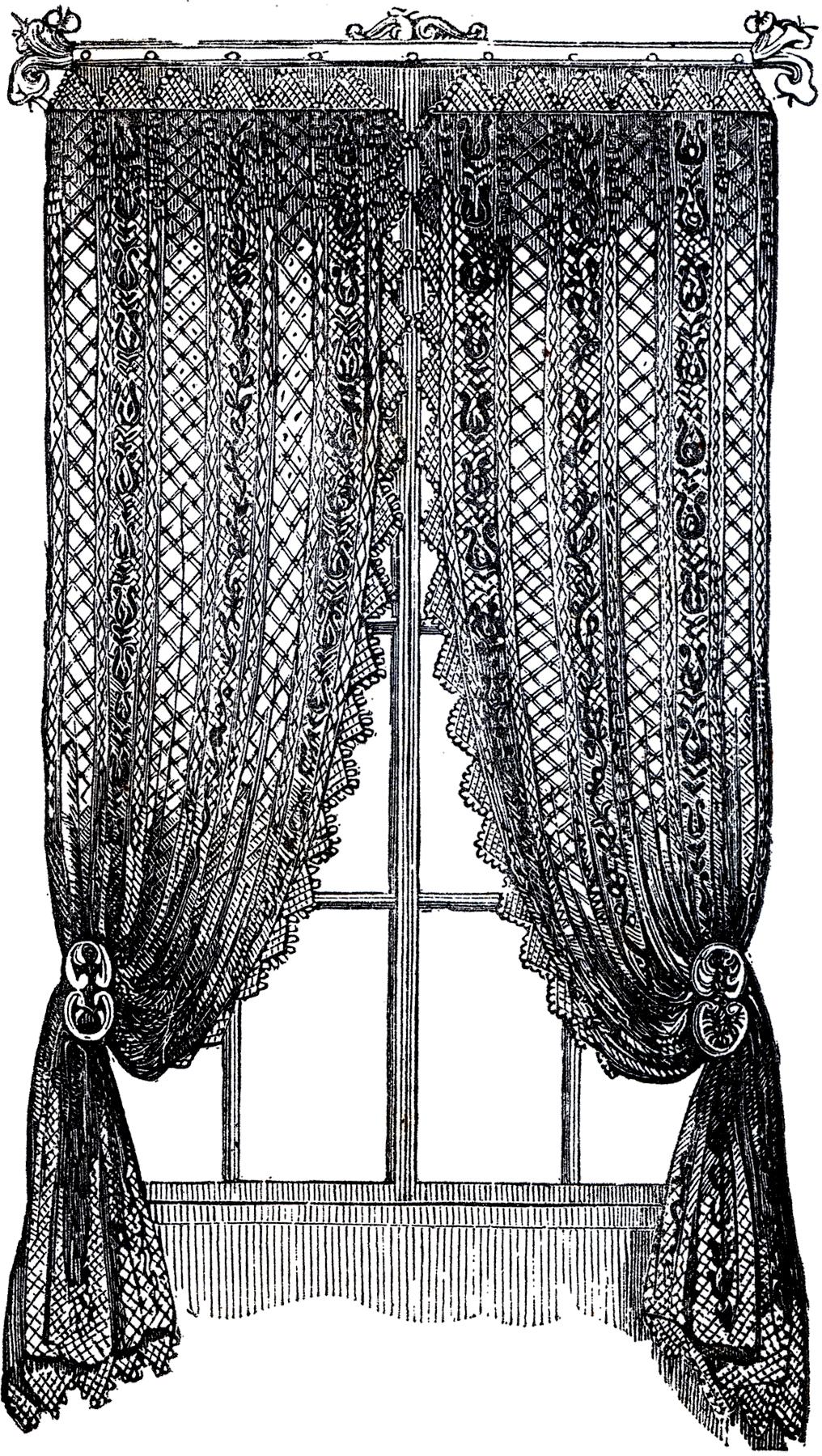 Vintage Lace Curtains Clip Art!.