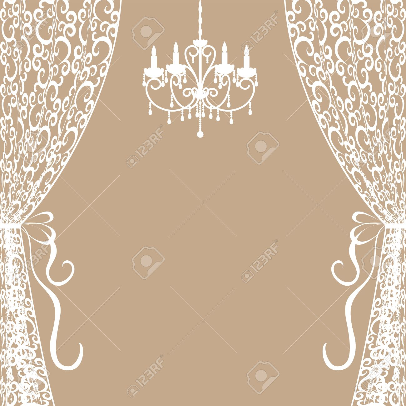 Lace curtain clipart clipground vintage card with chandelier and curtains royalty free cliparts arubaitofo Image collections