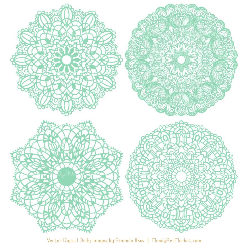 Mint Round Lace Doily Vectors.