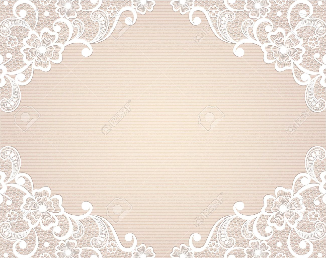 Template frame design for card Vintage Lace Doily.