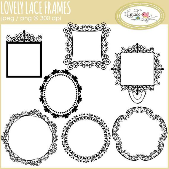 Digital frames clip art, digital lace frames, lace clip art, monogram  frames, baby month label frame, scrapbooking frames, commercial use.