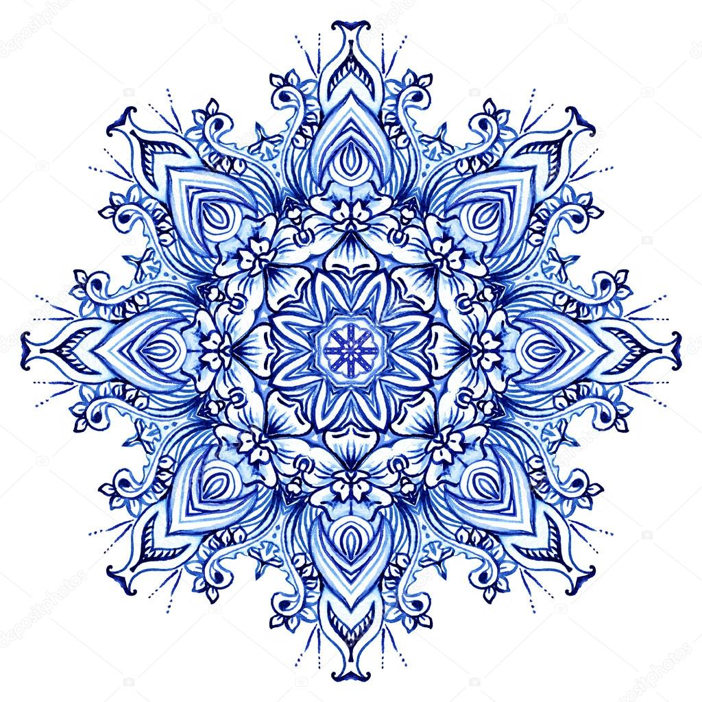 Clipart Watercolor. Doily round lace pattern — Stock Photo.