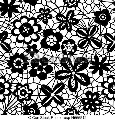 Vector Clip Art of Lace seamless pattern with flowers.
