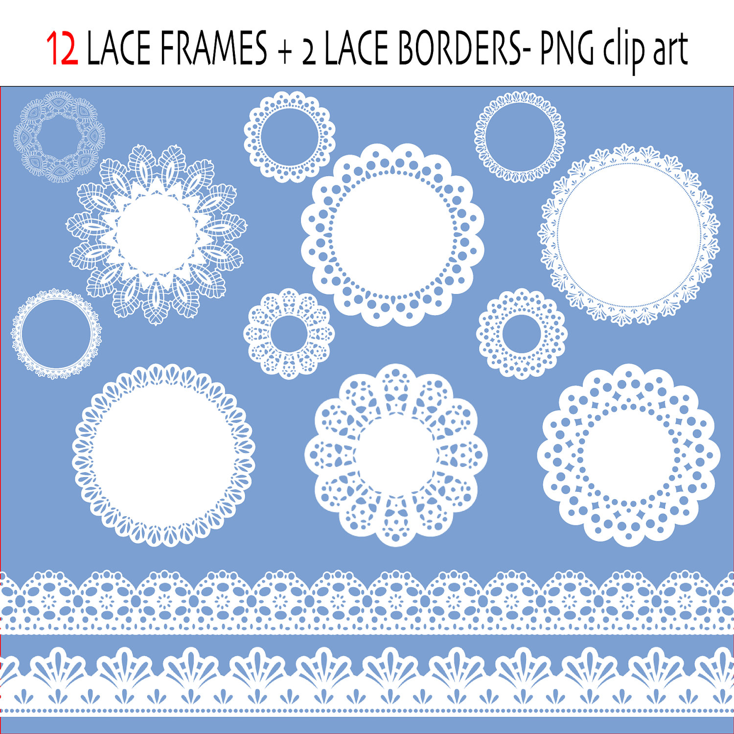Lace clip art labels or frames, lace ribbon, lace borders in white.