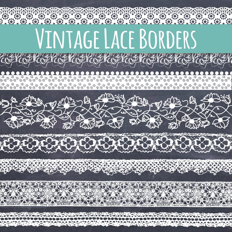 CLIP ART: Lace Borders // Beautiful Vintage Lace Ribbon Clip Art.