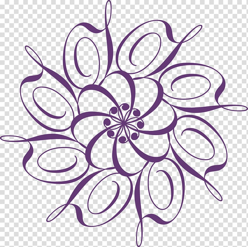 Calligraphy Ornament, Purple circle lace texture transparent.