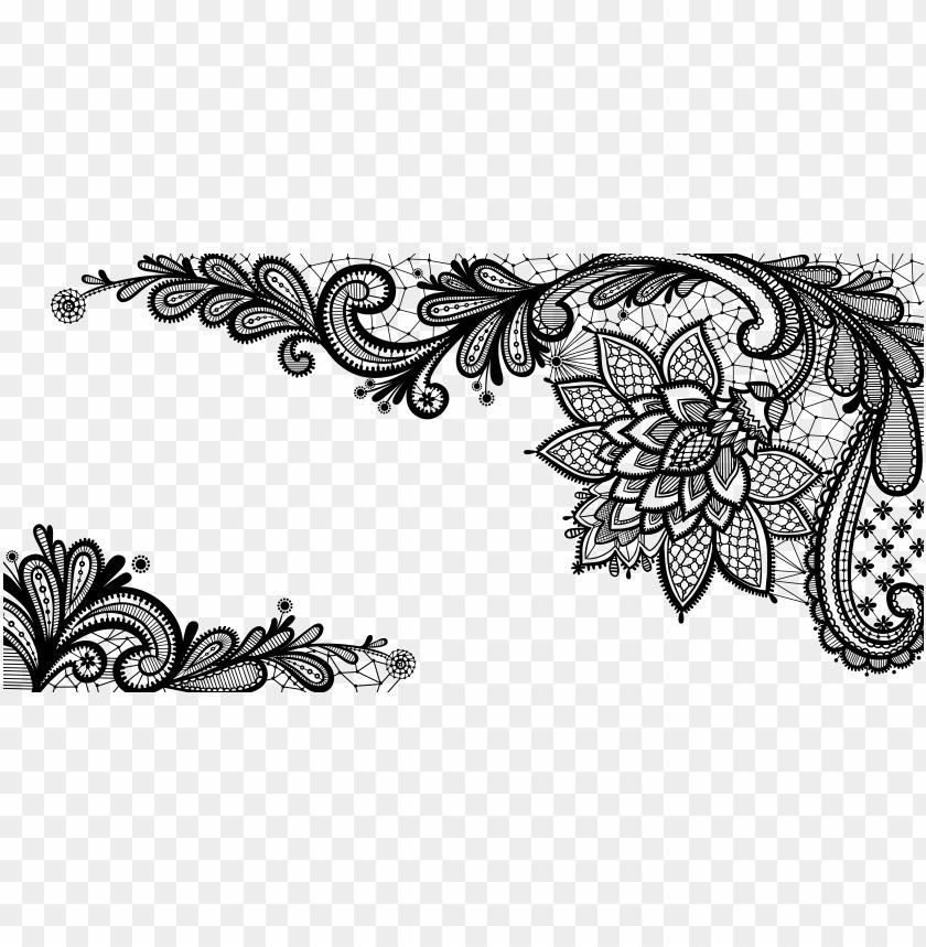 black lace ornament png clipart picture.