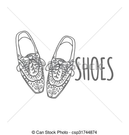 Vectors Illustration of oxfords shoes, doodle hipster lace.