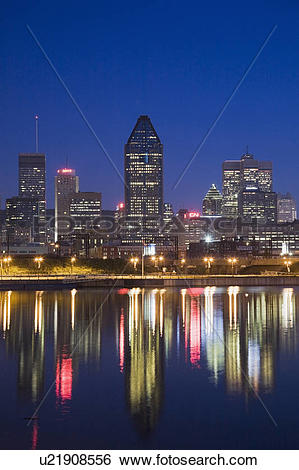 Stock Images of Montreal Skyline and Lachine Canal at Dawn, Quebec.
