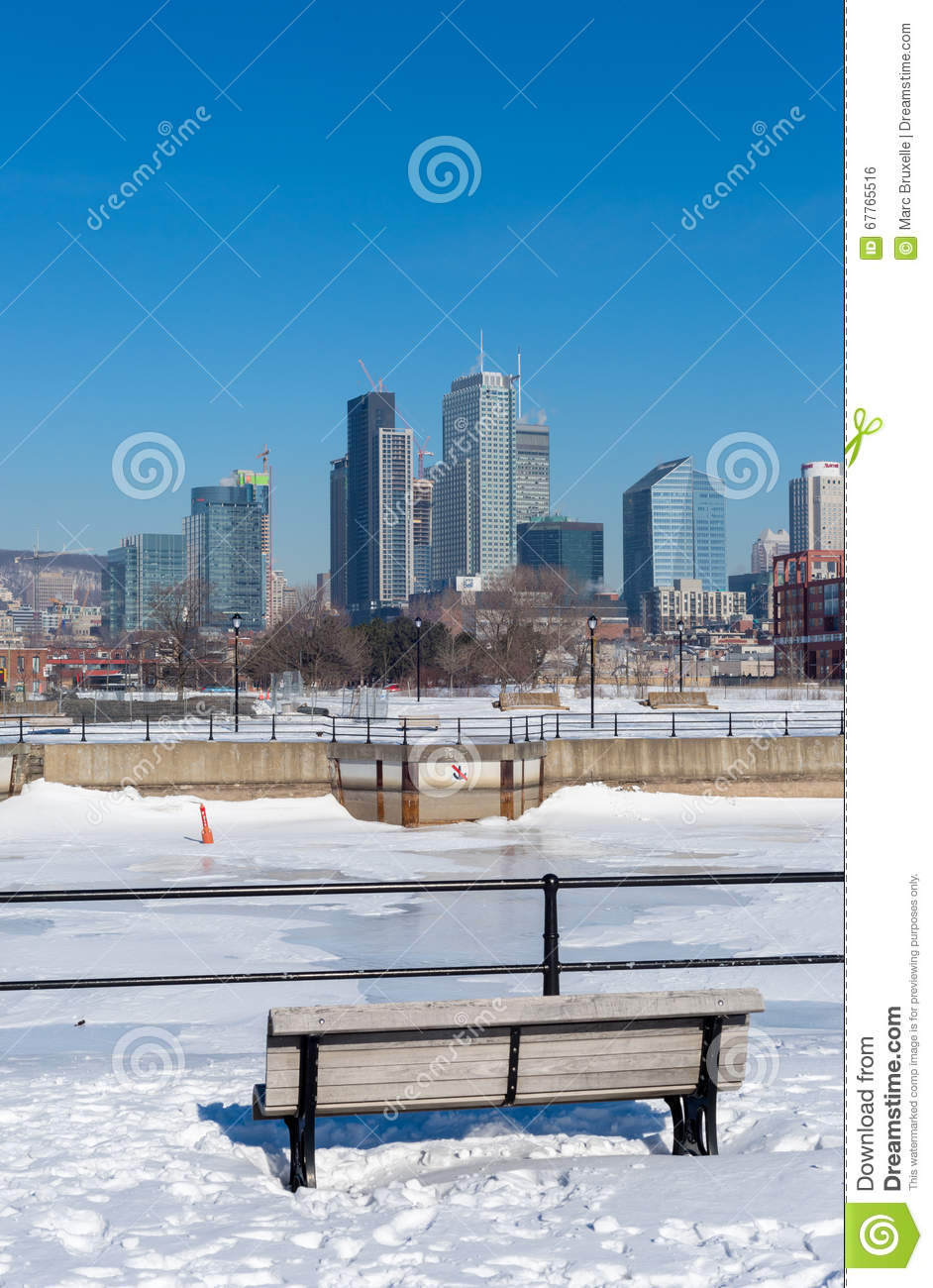 Montreal Skyline In Winter From Lachine Canal. Editorial Photo.