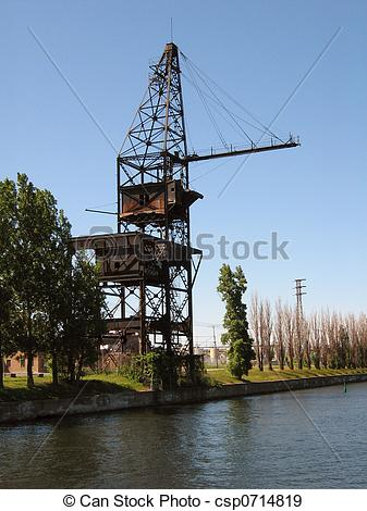 Stock Photographs of Historic Canal Crane.