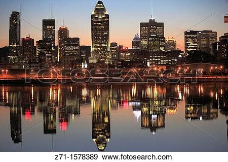 Stock Photograph of Lachine Canal, Montreal skyline, Quebec.