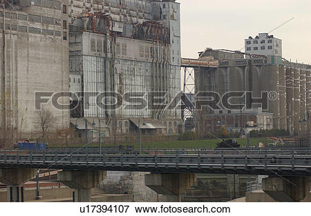 Picture of Railway bridge with buildings in the background in.