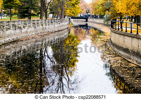 Picture of Autumn Montreal Lachine Canal Landscape From the Bridge.
