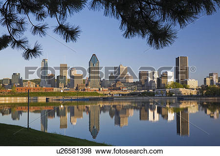Pictures of Montreal Skyline reflected in the Lachine Canal at.