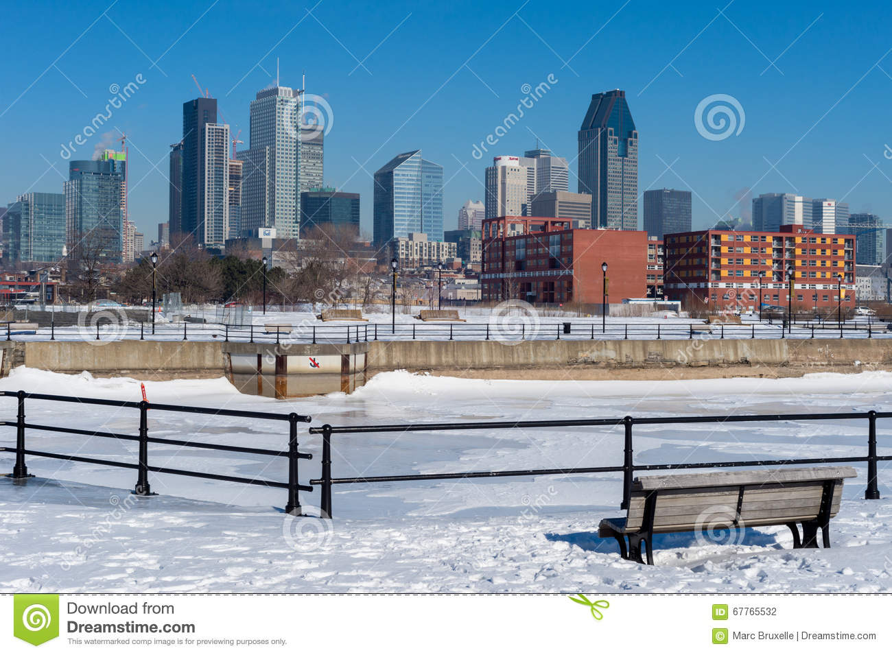 Montreal Skyline In Winter From Lachine Canal. Editorial.