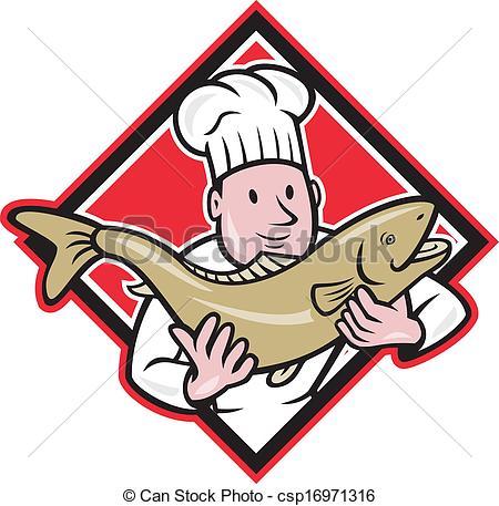 Vektor Clip Art von behandlung, fische, lachs, küchenchef, Koch.