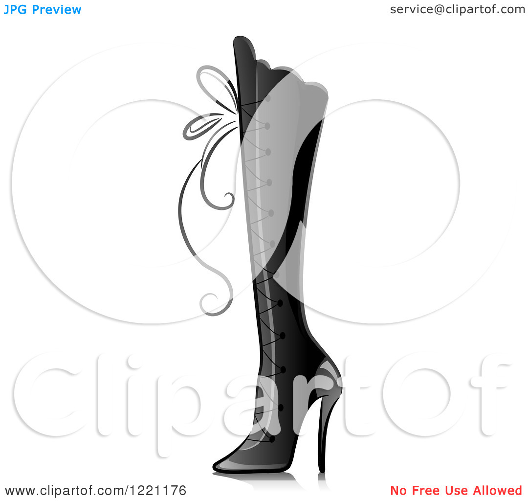 Clipart of a Grascale Knee High Boot with Lacing.