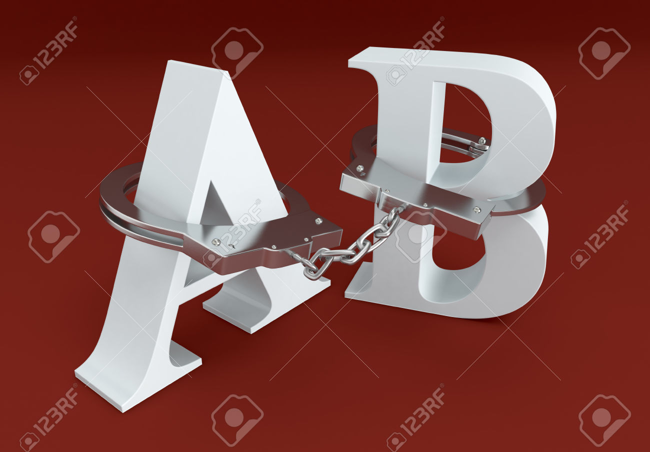 Letters A And B With Handcuffs, Concept Of Lack Of Freedom Of.