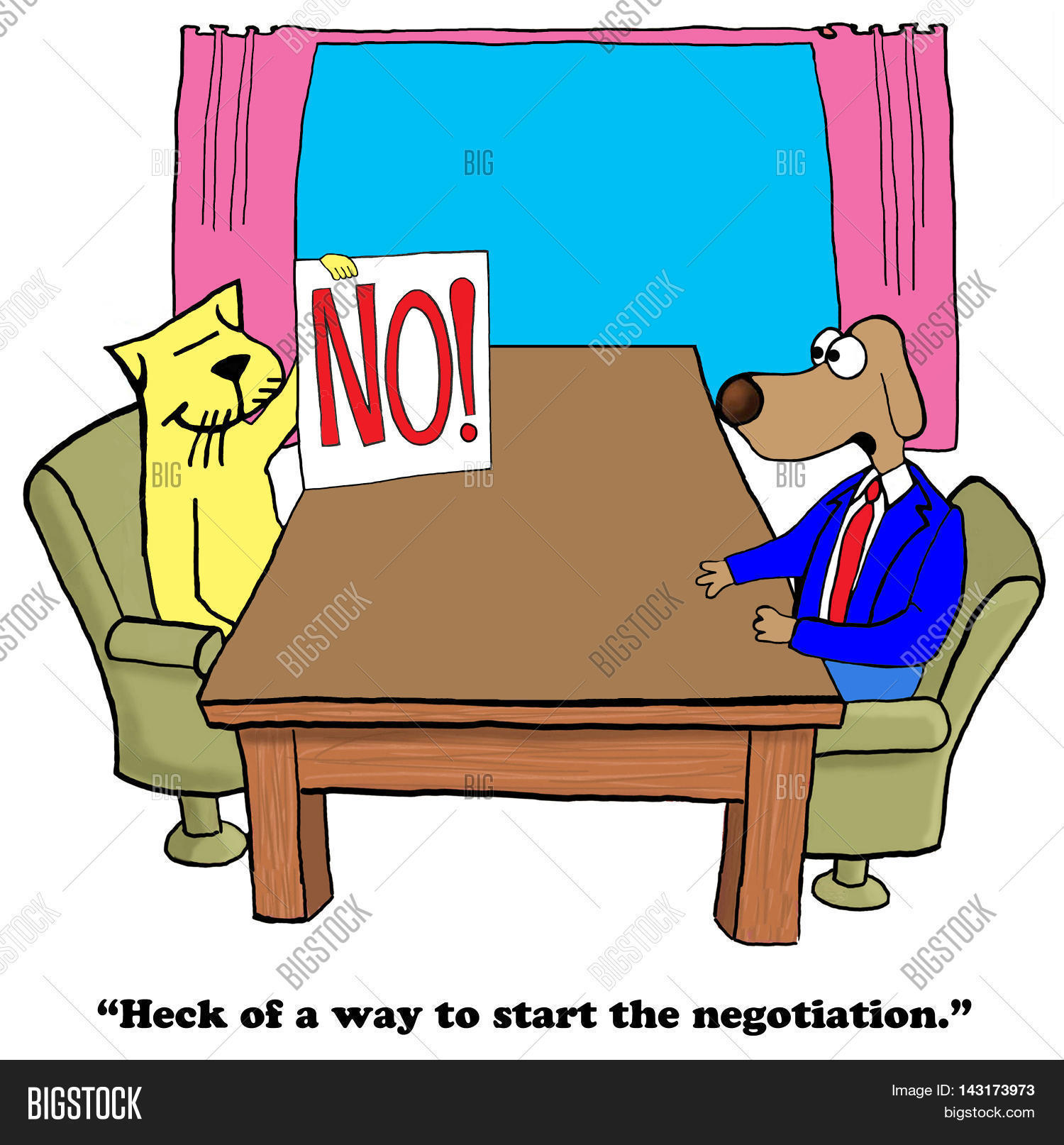 Business cartoon showing a large 'no', there is a lack of interest.