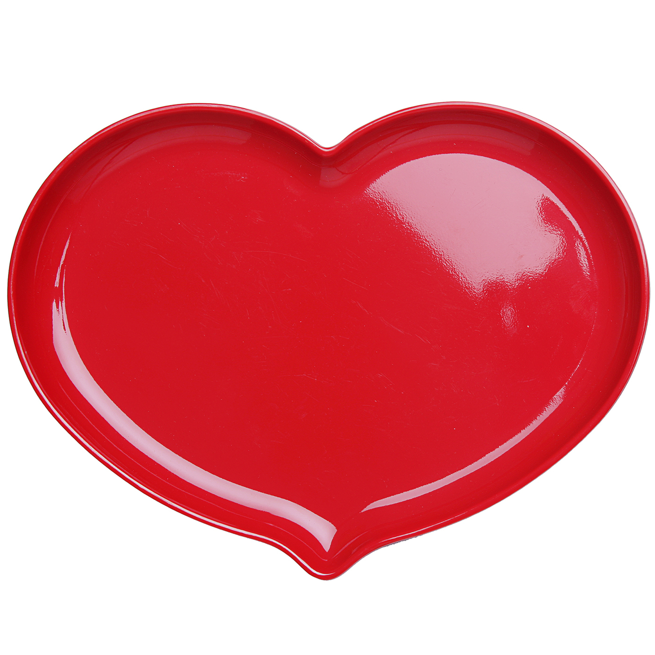 Heart Shaped Plate Red Lacquer Clipart.