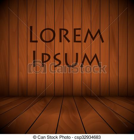 Vector of wooden lacquered stage wall and flor background sample.