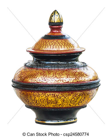 Picture of Thai lacquerware on the white background csp24580774.