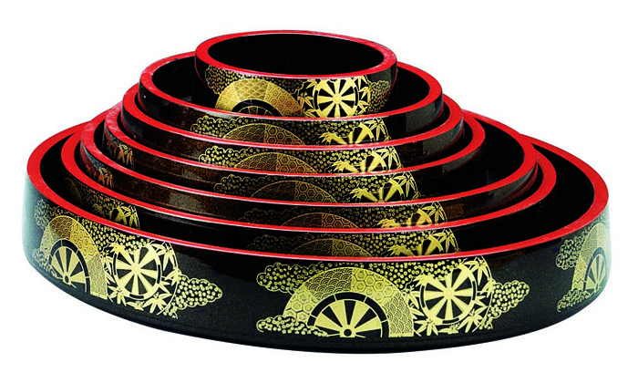 Lacquerware Sushi Oke Kaza 18x6cm / The Oriental Shop.