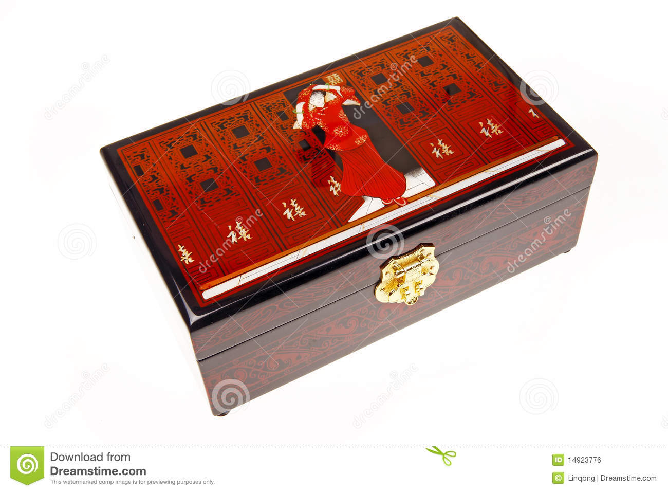 Chinese Lacquerware Jewelry Box Royalty Free Stock Image.