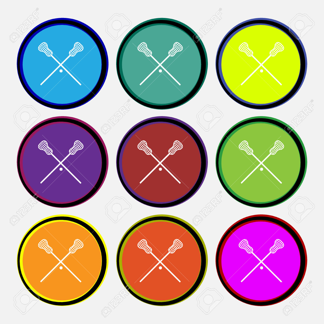 Lacrosse Sticks Crossed Icon Sign. Nine Multi Colored Round.