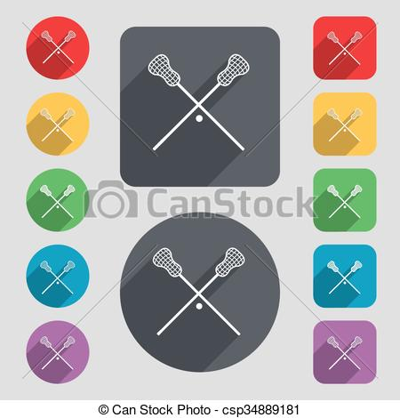 Vector of Lacrosse Sticks crossed icon sign. A set of 12 colored.